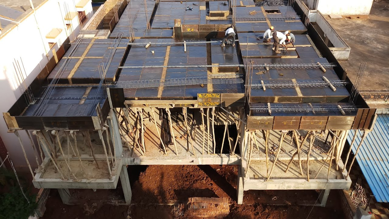 Slab work and shuttering work of apartment top view