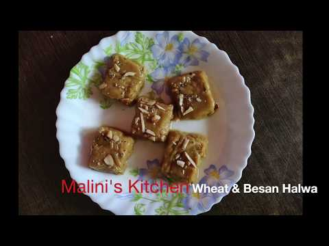 wheat-flour-and-besan-halwa-|-indian-sweets-|-easy-recipe