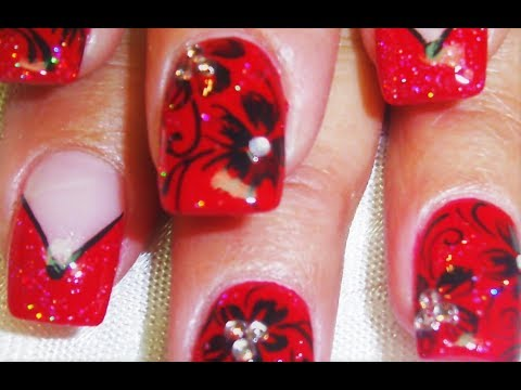 red and black flower nail art design