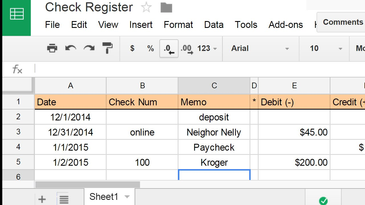 create a check register using a spreadsheet youtube