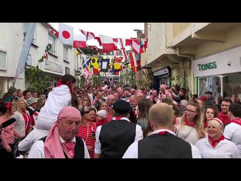 """Padstow May Day 2018 """"Obby Oss""""."""