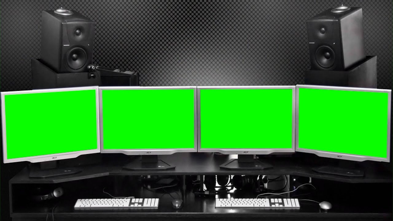 studio montage room computers in green screen free stock footage youtube. Black Bedroom Furniture Sets. Home Design Ideas