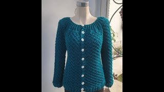Suéter tejido a crochet (puntada rombos)