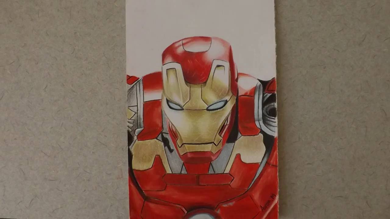 Dibujo En Lapiz De Colores De Ironman Por Aaron Youtube