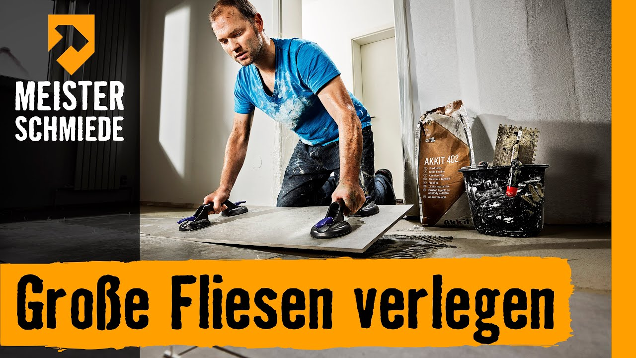 gro e fliesen verlegen hornbach meisterschmiede youtube. Black Bedroom Furniture Sets. Home Design Ideas