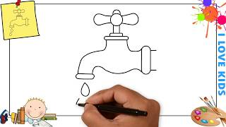 How to draw a tap water EASY step by step for kids, beginners, children 3
