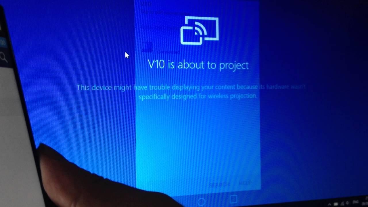 Windows 10 Anniversary Update Connect App (Miracast), LG V10 (Read