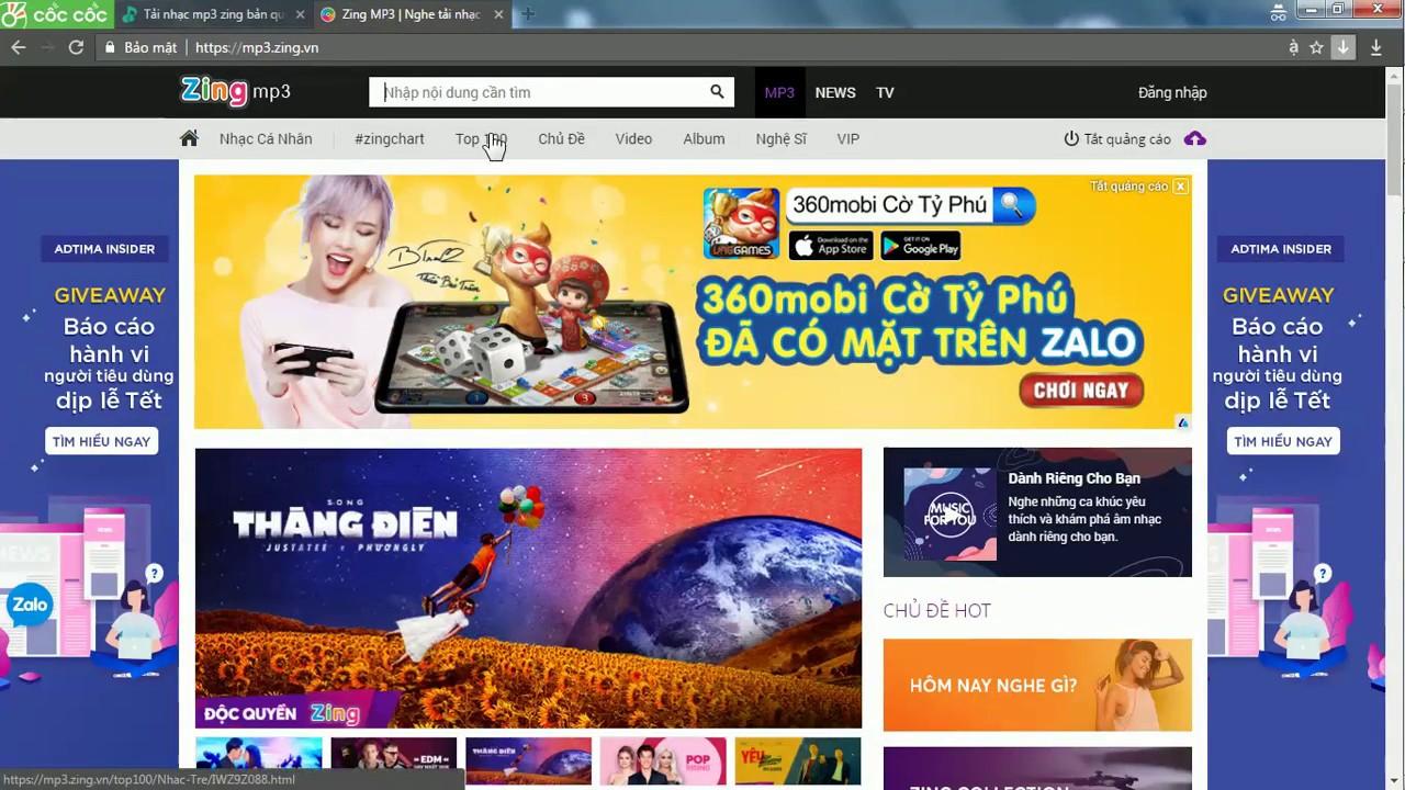 Cách tải nhạc bản quyền zing mp3 miễn phí về máy tính 2018 2019 nhacfree.com
