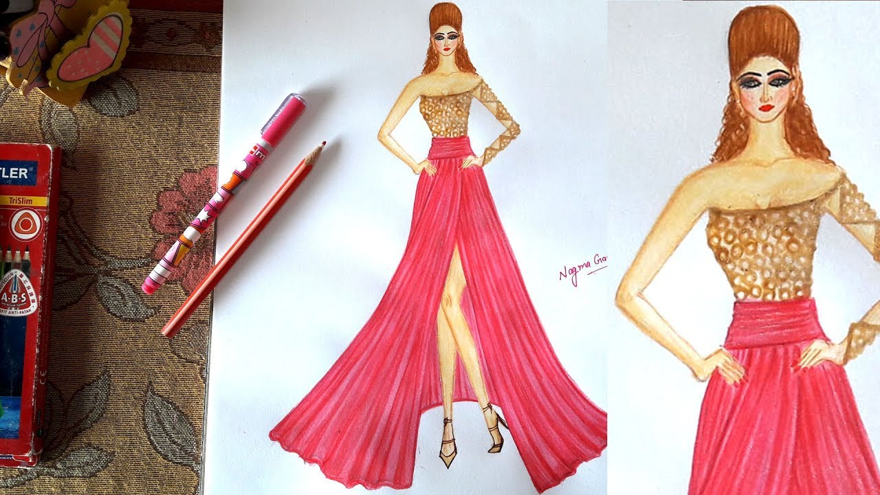 How To Draw A Beautiful Designer Dress Youtube