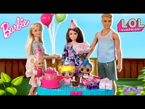 Barbie Doll LOL Family Birthday Party Routine with Baby Goldie & Punk Boi