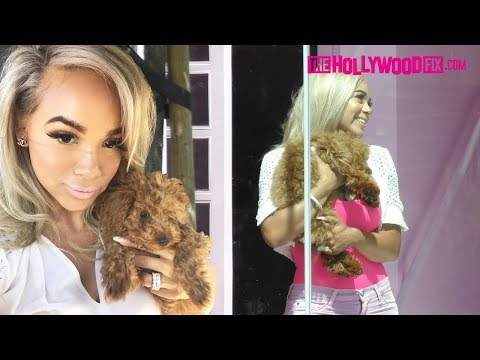 Bad Medina Shows Off Her New Puppy 'Hero' To Sofia Jamora At The Pretty Little Thing L.A. Office
