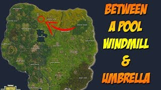 Fortnite - Search Between a Pool, Windmill, & Umbrella - Secret Challenge