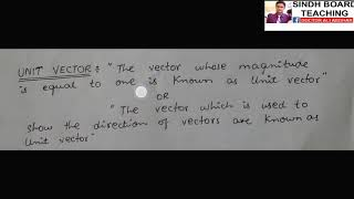 "XI Physics ""Concept of Unit Vector"""