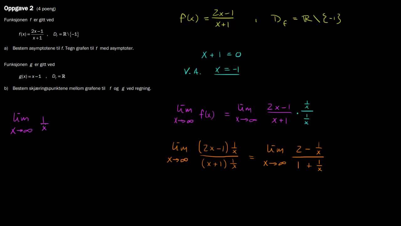 R1 eksamen, høst 2013, Del 2 - 2a) Finne vertikal og horisontal/skrå asymptote