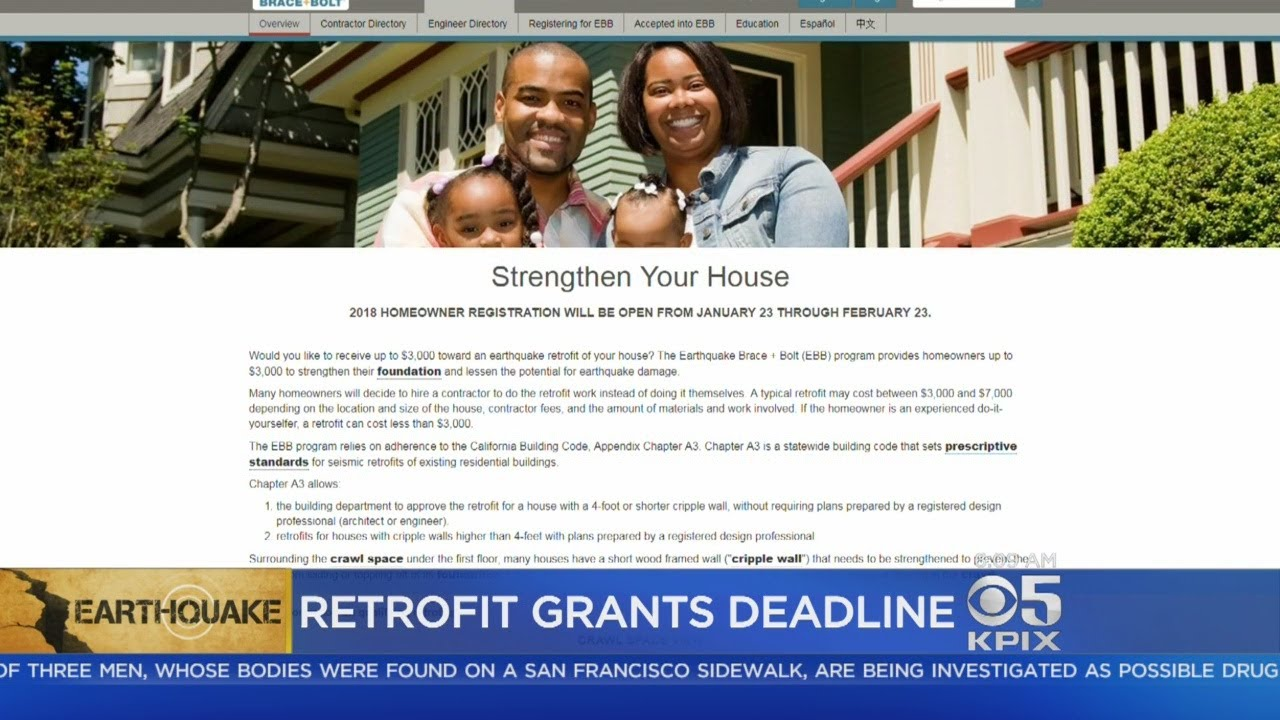 BRACE AND BOLT: Friday is deadline to file for a state program to help homeowners apply for earthqu