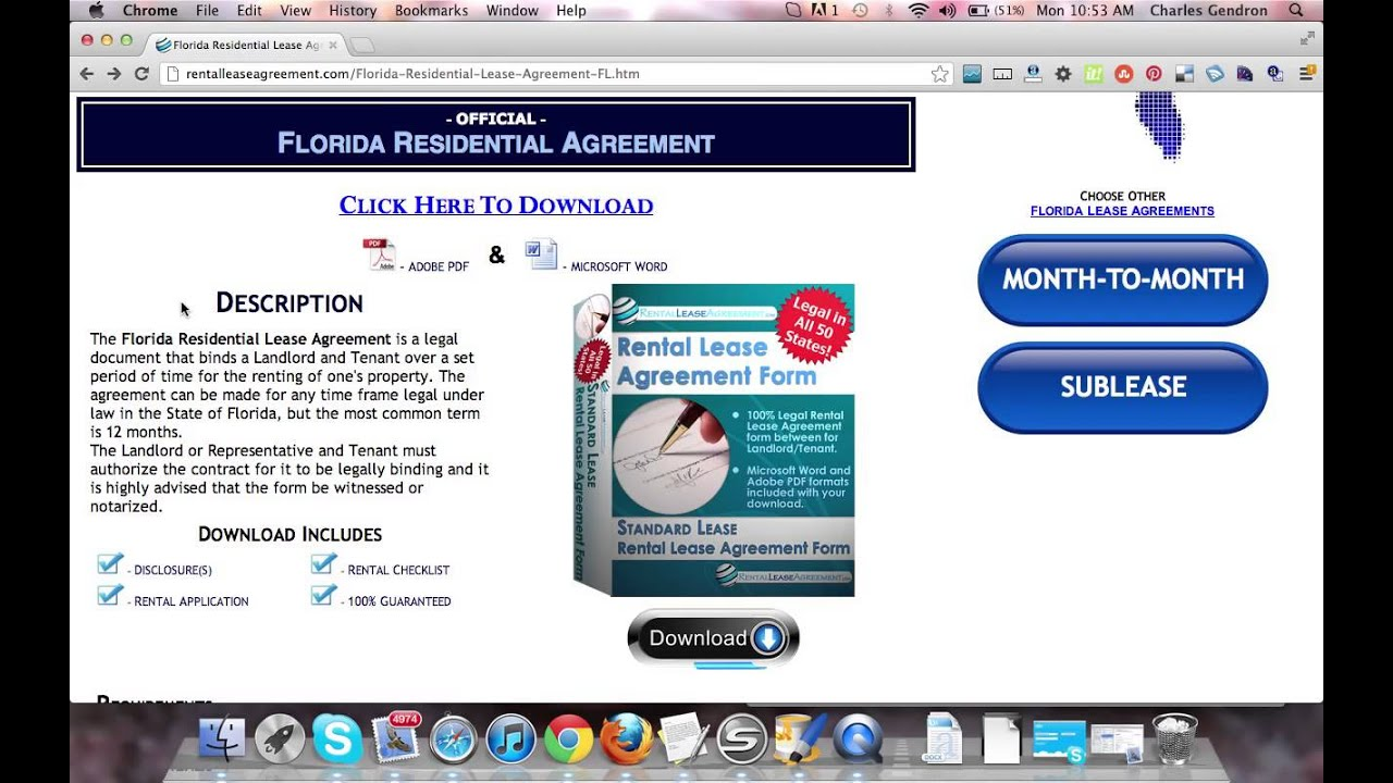 Florida Residential Lease Agreement Youtube