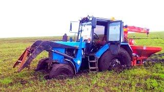 Тракторы прут на бездорожье Застрял Трактор в грязи Уникальная Подборка бездорожья