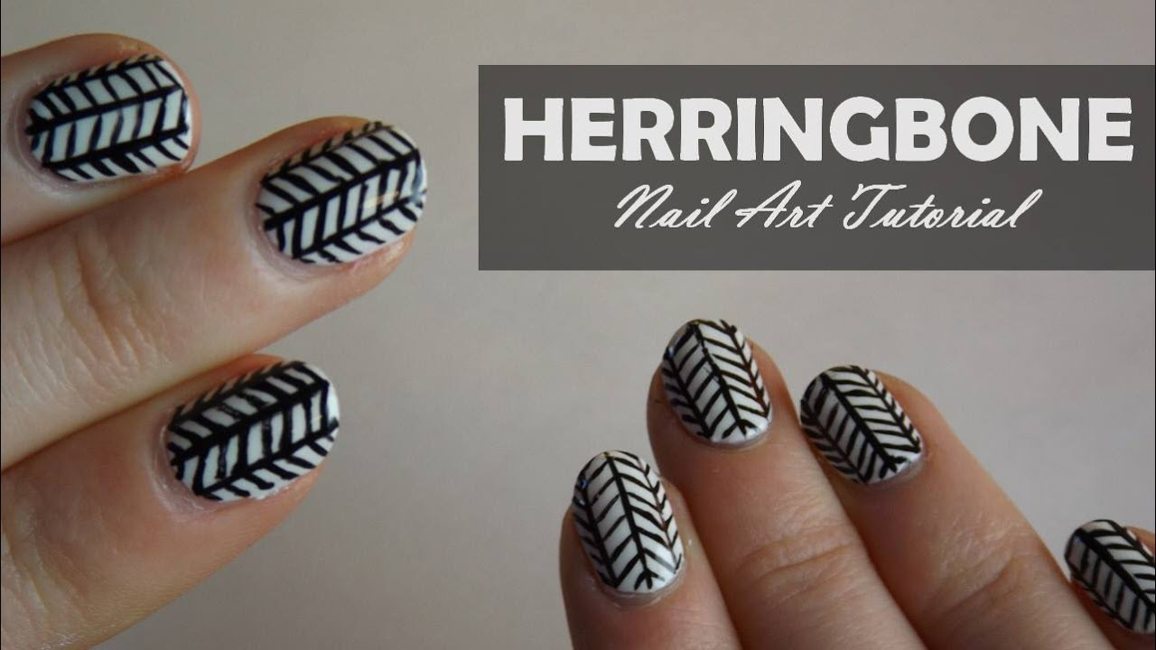 Herringbone Nail Art Tutorial Dots Above The E Youtube