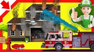 Fire truck for children cartoon. Fire truck for children story. Fireman truck for kids