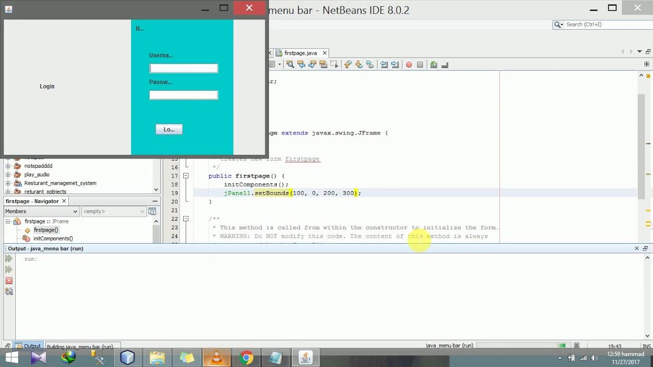 how to make sliding or animating login/menu bar in java