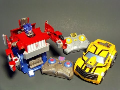 TF PRIME RiD REMOTE CONTROL OPTIMUS and BUMBLEBEE R/C TRANSFORMERS TOY REVIEW