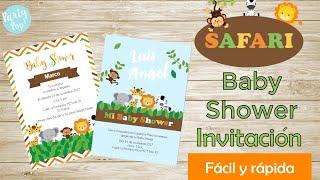 Invitaciones para Baby shower -En digital-  2 ideas  Safari + Plantillas imprimibles | Party pop!🎉|