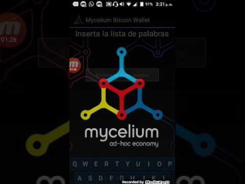 Mycelium , hacer restauracion de tus btcs