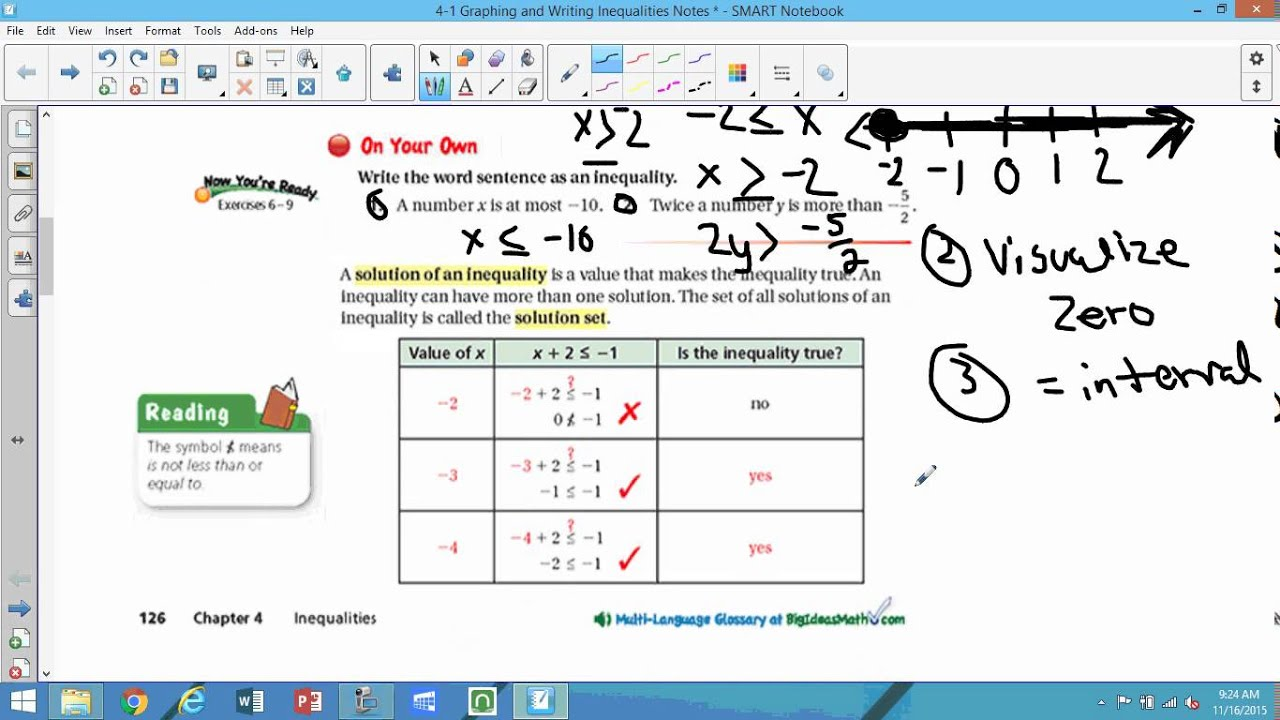 graphing and writing inequalities 16 solving linear inequalities 41 graphing calculator: equations and inequalitiesequations and inequalities reading,writing, and notetaking reading 2, 3, 5, 13.