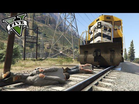 GTA V PC MODS - ATANDO PERSONAS A LAS VIAS DEL TREN !! OMG - Random Mods - ElChurches