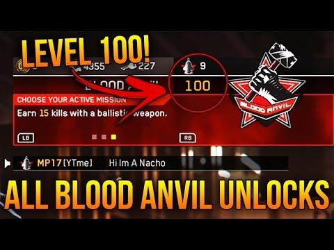 ALL BLOOD ANVIL UNLOCKS in INFINITE WARFARE! (LEVEL 100 BLOOD ANVIL)