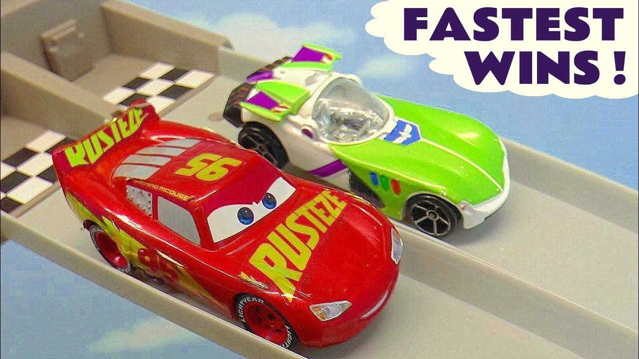 Cars 3 McQueen vs Hot Wheels Toy Story 4 Buzz and DC Comics Justice League Fastest Wins
