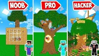 Minecraft NOOB vs PRO vs HACKER vs GOD : THE BIGGEST TREE BASE EVER in Minecraft | Challenge!