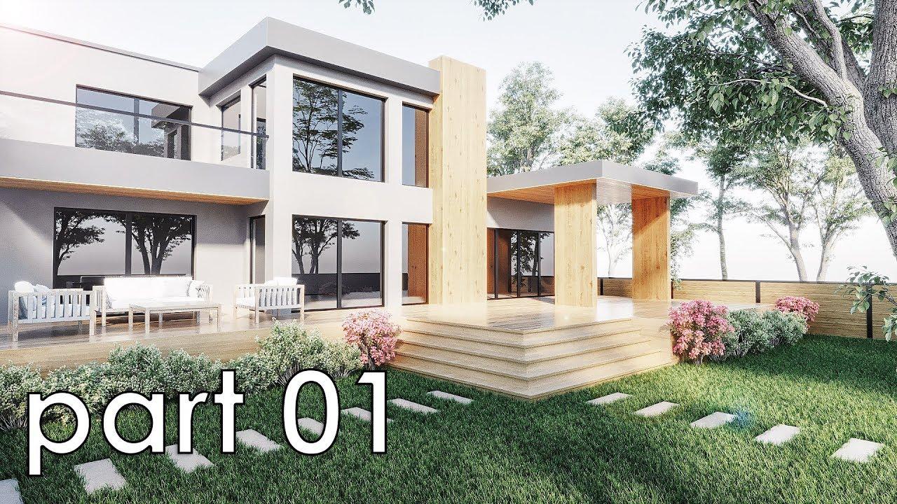 Exterior: 3dsmax Exterior Villa Tutorial (Corona Render) Part01