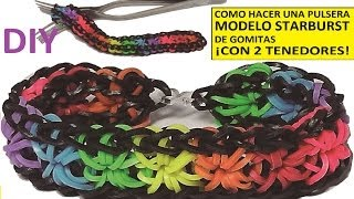 Repeat youtube video COMO HACER UNA PULSERA DE GOMITAS STARBURST CON 2 TENEDORES SIN TELAR RAINBOW LOOM