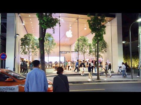 Nightwalk To Apple Store Garosu-Gil│Seoul In Korea│4K 60fps POV