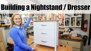 DIY Dresser - Nightstand w/ White Base and Stained Fir Top