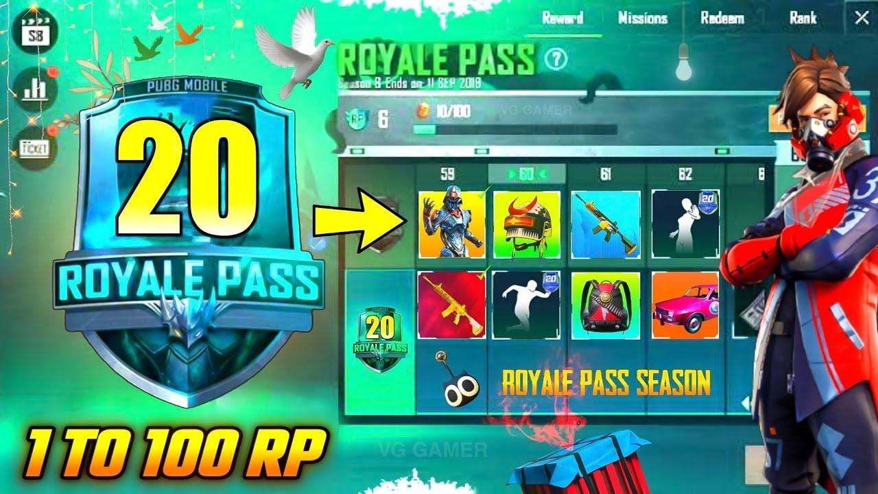 SEASON 20 - ROYAL PASS 1 TO 100 LEVEL RP REWARDS   SEASON 20 ROYAL PASS PUBG MOBILE !!