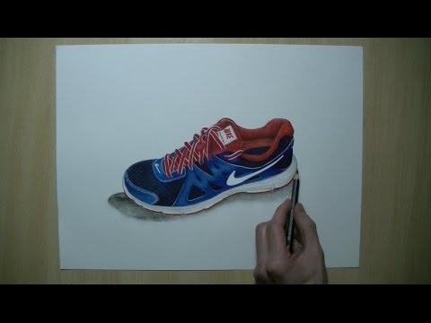 How To Draw: Nike shoe Revolution 2 - Realistic Art
