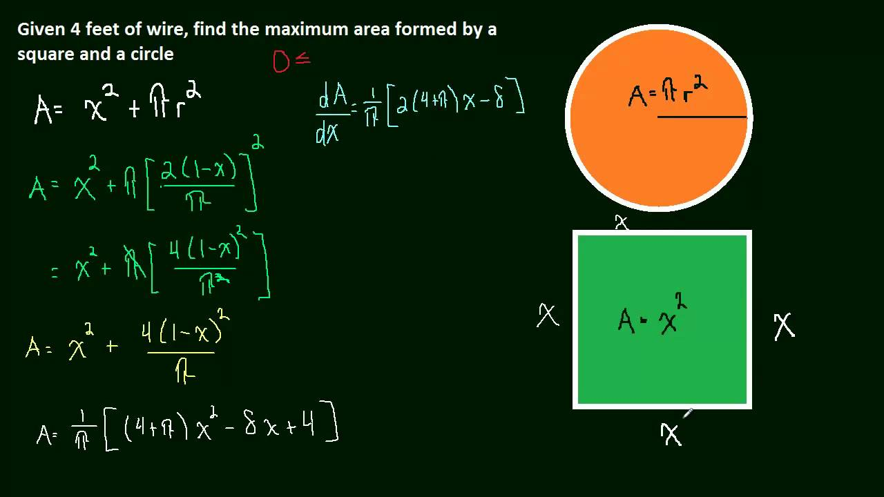 36 optimization 02 circle and square with maximum area youtube robcynllc Choice Image
