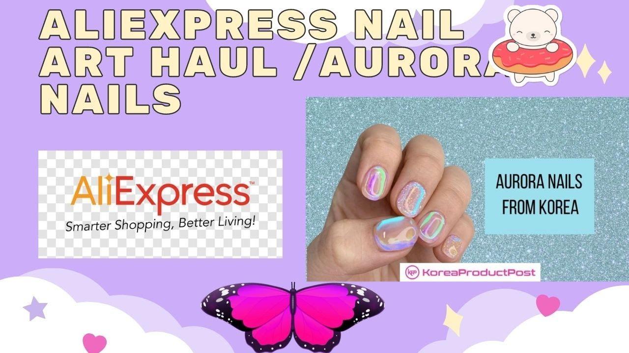 aliexpress nail art haul/ aurora glass nails/ crystal haul