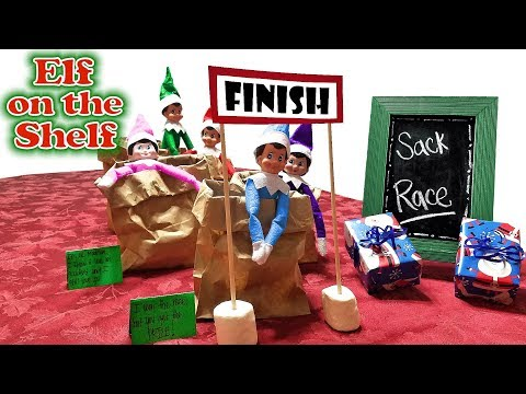 Purple & Pink Elf on the Shelf - Sack Race with Green, Blue, & Red Elves! Day 21