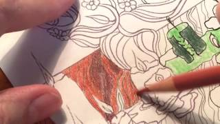 Adult Coloring With ILene Vick: Part 5/9 Mermaids. Coloring A Wood Floor After Drawing It In