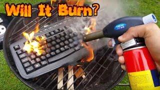 WIRELESS KEYBOARD!! BIG FIRE!! - Will It Burn #56