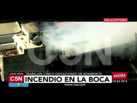 C5N - Sociedad: Imágenes aéreas del incendio en La Boca desde el helicóptero de C5N
