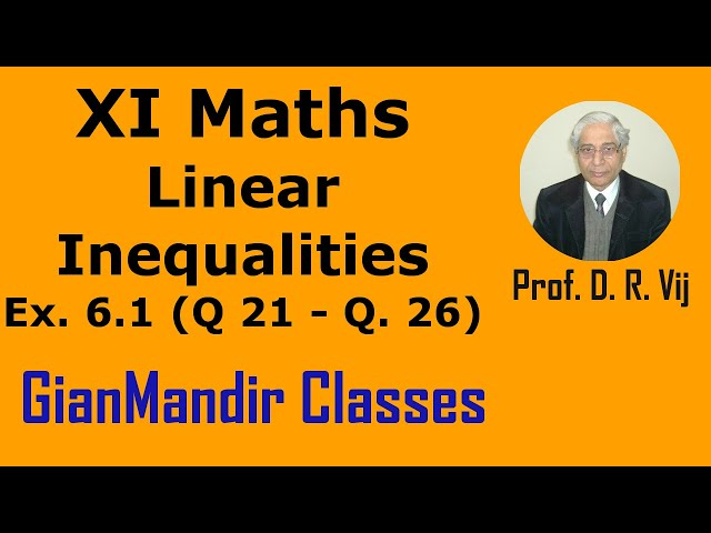 XI Maths | Linear Inequalities | Ex. 6.1  (Q 21 to Q. 26) by Divya Ma'am