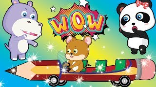 Baby Animals | Little Mouse Drives Pencil Car | Funny Cartoons for kids