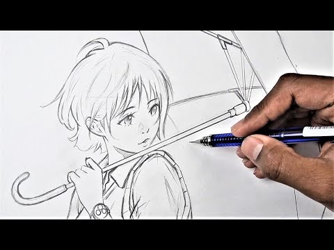 How To Draw Anime Girl With An Umbrella (Anime Drawing Tutorial For Beginners)