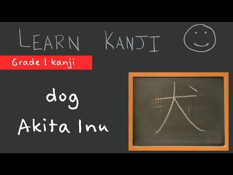 Kanji 犬 - dog (犬), Akita Inu; Japanese Akita (秋田犬): Learn Kanji  - free Japanese Language study