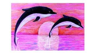 Рисуем дельфинов восковыми мелками