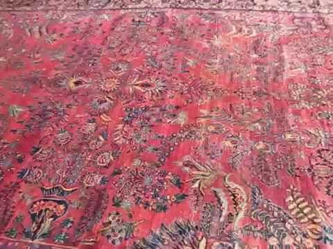 Antique Sarouk Rug Carpet 10 X 16